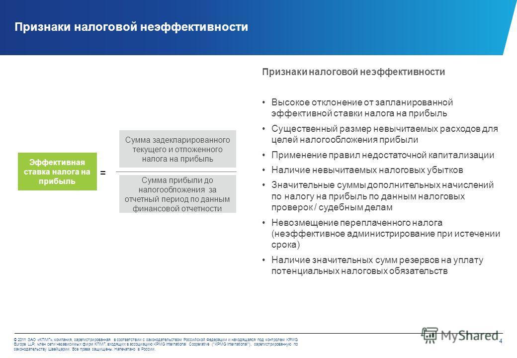 4 © 2011 ЗАО «КПМГ», компания, зарегистрированная в соответствии с законодательством Российской Федерации и находящаяся под контролем KPMG Europe LLP; член сети независимых фирм КПМГ, входящих в ассоциацию KPMG International Cooperative (KPMG Interna