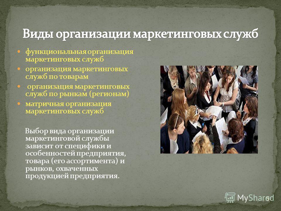 функциональная организация маркетинговых служб организация маркетинговых служб по товарам организация маркетинговых служб по рынкам (регионам) матричная организация маркетинговых служб Выбор вида организации маркетинговой службы зависит от специфики