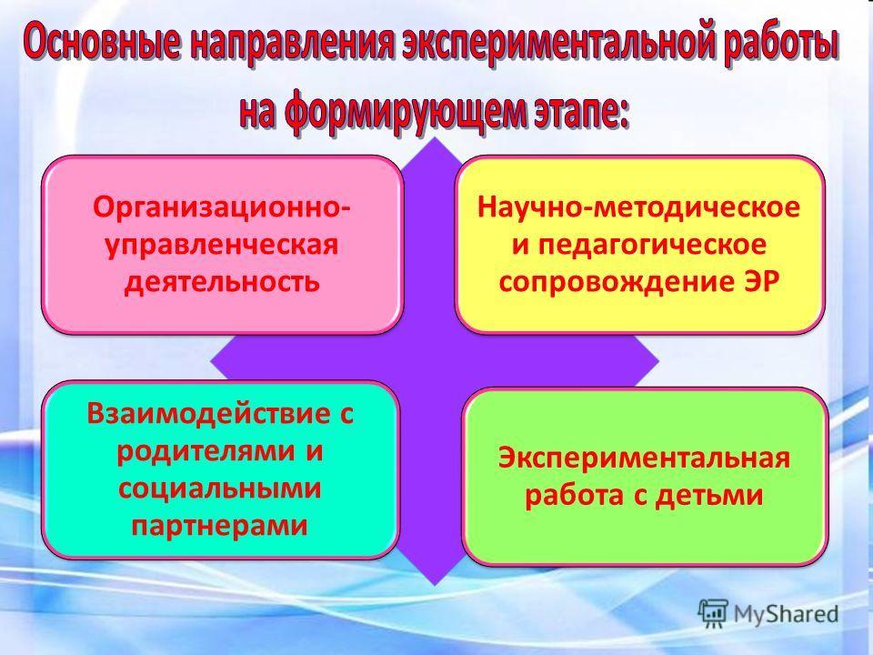 Организационно- управленческая деятельность Научно-методическое и педагогическое сопровождение ЭР Взаимодействие с родителями и социальными партнерами Экспериментальная работа с детьми
