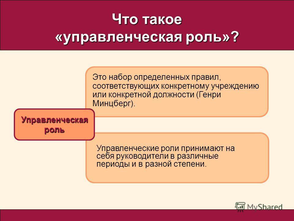 Что такое «управленческая роль»? Управленческаяроль Это набор определенных правил, соответствующих конкретному учреждению или конкретной должности (Генри Минцберг). Управленческие роли принимают на себя руководители в различные периоды и в разной сте