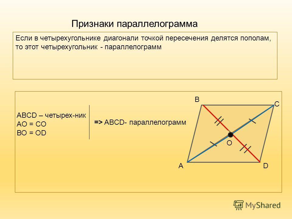Признаки параллелограмма Если в четырехугольнике диагонали точкой пересечения делятся пополам, то этот четырехугольник - параллелограмм DА В С ABCD – четырех-ник AО = CО ВО = ОD О => ABCD- параллелограмм
