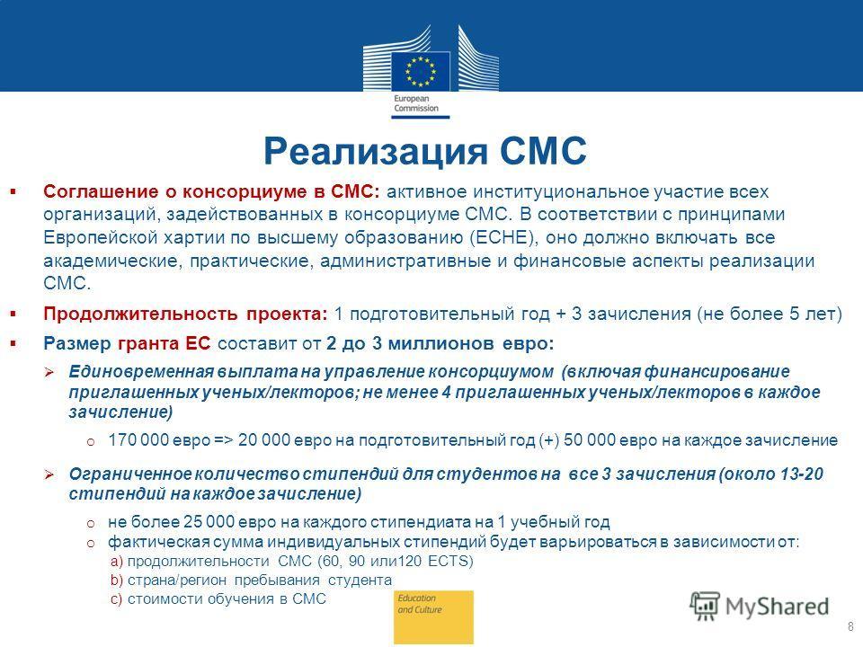 Реализация СМС Соглашение о консорциуме в СМС: активное институциональное участие всех организаций, задействованных в консорциуме СМС. В соответствии с принципами Европейской хартии по высшему образованию (ECHE), оно должно включать все академические