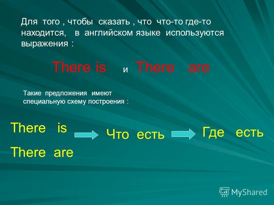 Для того, чтобы сказать, что что-то где-то находится, в английском языке используются выражения : There is и There are Такие предложения имеют специальную схему построения : There is There are Что есть Где есть