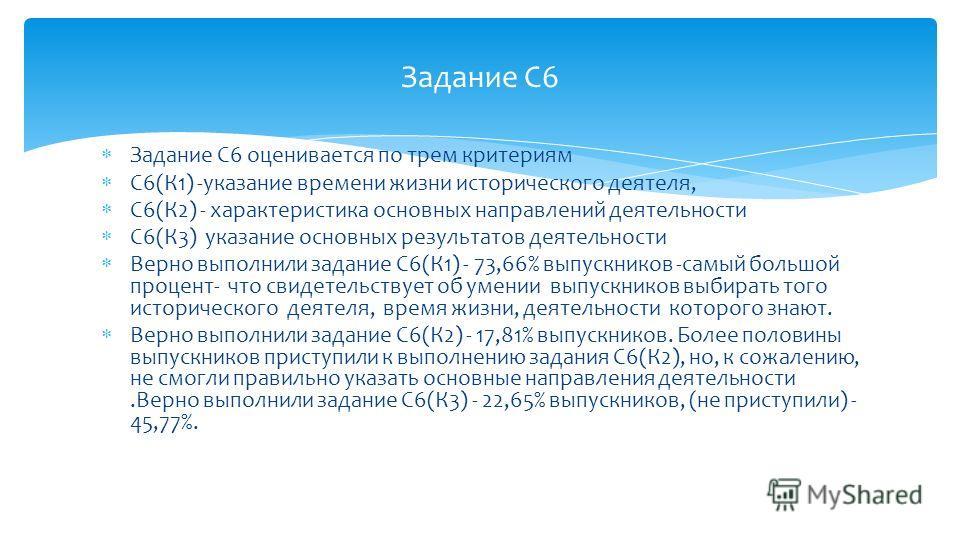Задание С6 оценивается по трем критериям С6(К1) -указание времени жизни исторического деятеля, С6(К2) - характеристика основных направлений деятельности С6(К3) указание основных результатов деятельности Верно выполнили задание С6(К1) - 73,66% выпускн