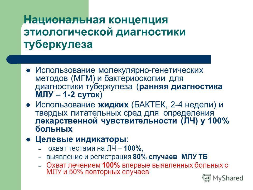 Национальная концепция этиологической диагностики туберкулеза Использование молекулярно-генетических методов (МГМ) и бактериоскопии для диагностики туберкулеза (ранняя диагностика МЛУ – 1-2 суток) Использование жидких (БАКТЕК, 2-4 недели) и твердых п