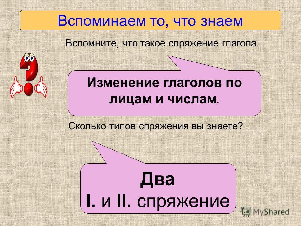 Вспоминаем то, что знаем Вспомните, что такое спряжение глагола. Сколько типов спряжения вы знаете? Изменение глаголов по лицам и числам. Два I. и II. спряжение