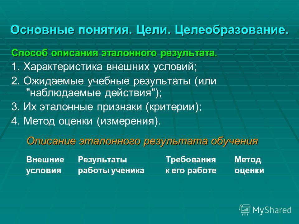 Основные понятия. Цели. Целеобразование. Способ описания эталонного результата. 1. Характеристика внешних условий; 2. Ожидаемые учебные результаты (или