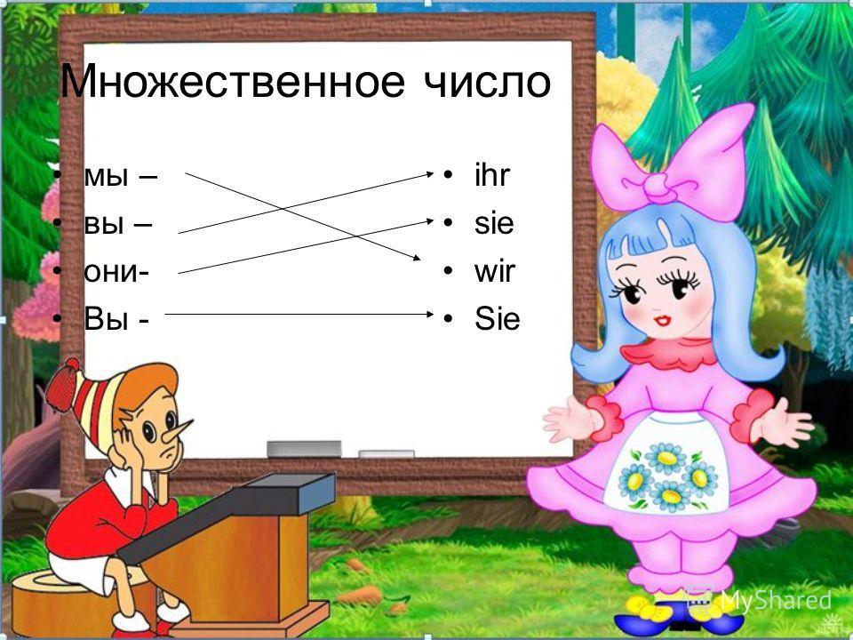 Я - ich Подбери к русскому слову немецкое Я Ты Он Она Оно du es ich er sie