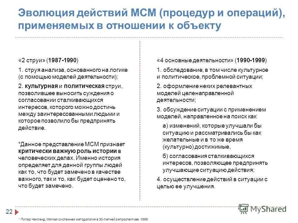 Эволюция действий МСМ (процедур и операций), применяемых в отношении к объекту 22 «2 струи» (1987-1990) 1. струя анализа, основанного на логике (с помощью моделей деятельности); 2. культурная и политическая струи, позволившее выносить суждения о согл