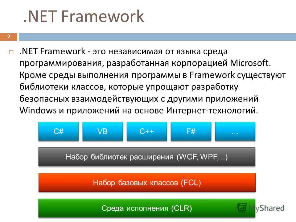 .NET Framework 2. NET Framework - это независимая от языка среда программирования, разработанная корпорацией Microsoft. Кроме среды выполнения программы в Framework существуют библиотеки классов, которые упрощают разработку безопасных взаимодействующ