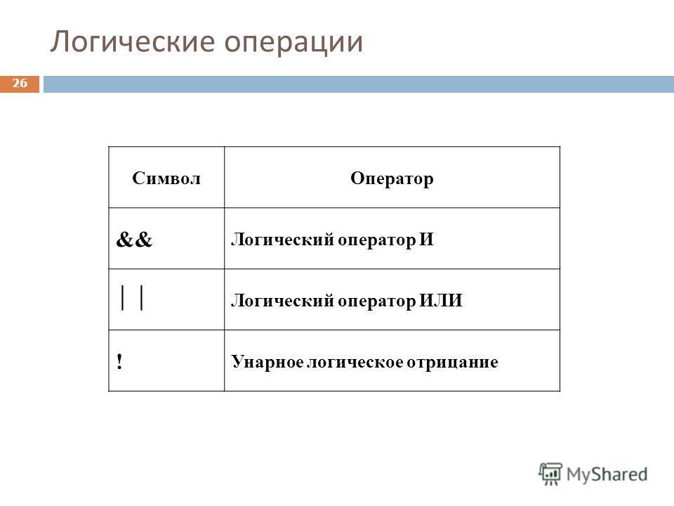 Логические операции Символ Оператор && Логический оператор И Логический оператор ИЛИ ! Унарное логическое отрицание 26