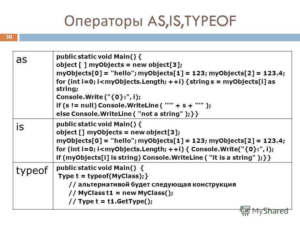 Операторы AS,IS,TYPEOF 30. as public static void Main() { object [ ] myObjects = new object[3]; myObjects[0] = hello; myObjects[1] = 123; myObjects[2] = 123.4; for (int i=0; i