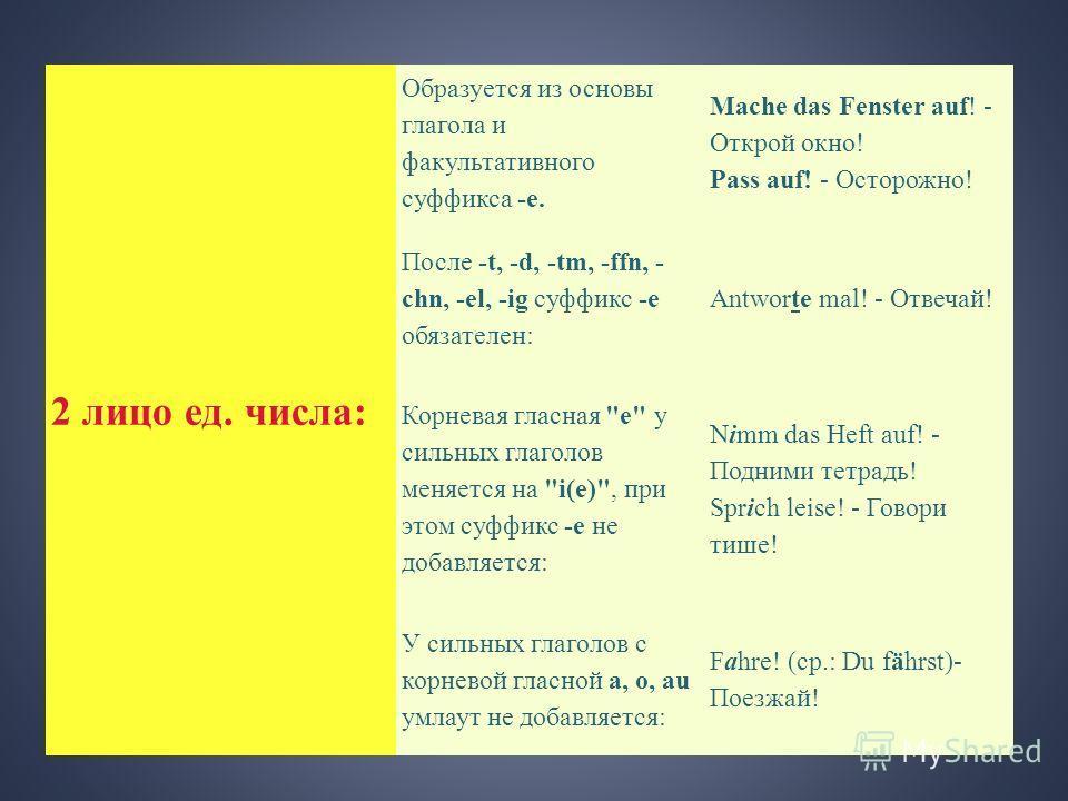 2 лицо ед. числа: Образуется из основы глагола и факультативного суффикса -e. Mache das Fenster auf! - Открой окно! Pass auf! - Осторожно! После -t, -d, -tm, -ffn, - chn, -el, -ig суффикс -e обязателен: Antworte mal! - Отвечай! Корневая гласная