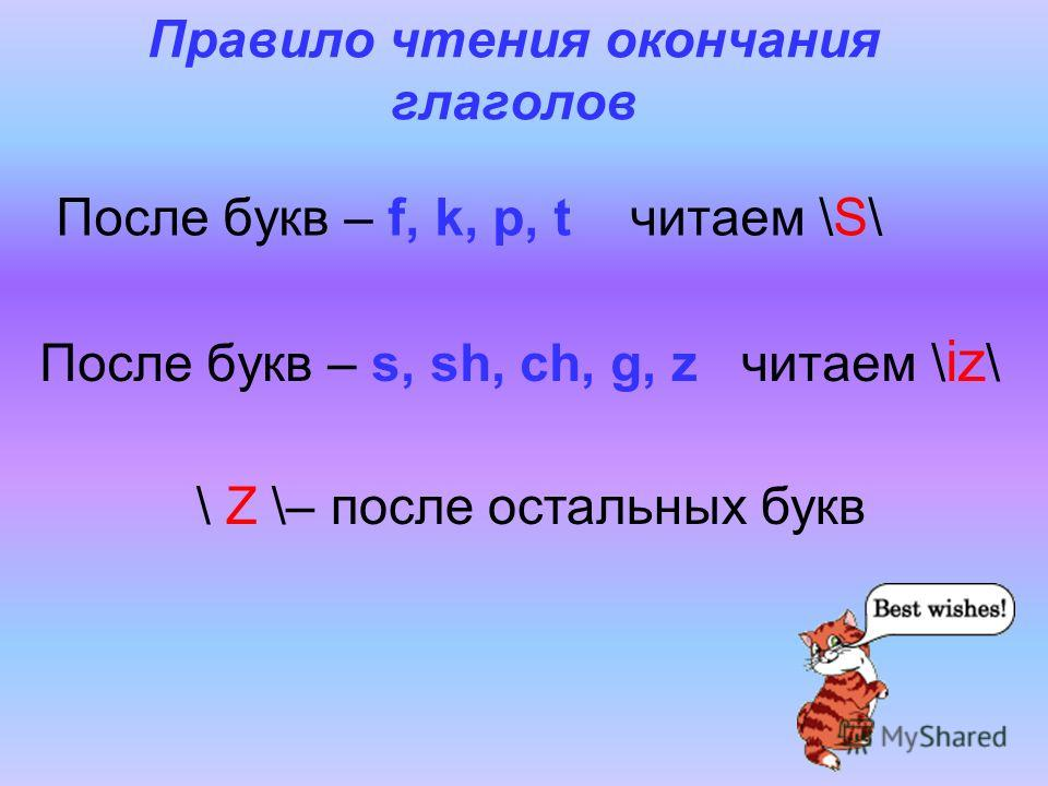 Правило чтения окончания глаголов После букв – f, k, p, t читаем \S\ После букв – s, sh, ch, g, z читаем \ iz \ \ Z \– после остальных букв