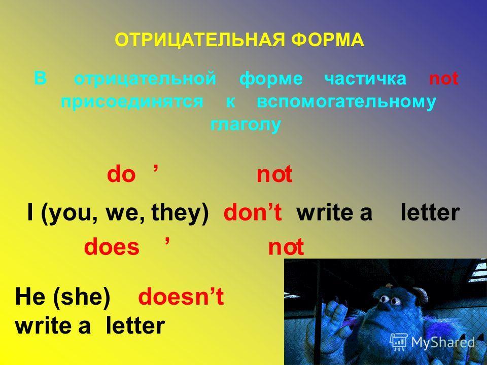 ОТРИЦАТЕЛЬНАЯ ФОРМА В отрицательной форме частичка not присоединятся к вспомогательному глаголу I (you, we, they) dont write a letter He (she) doesnt write a letter don to doesn to
