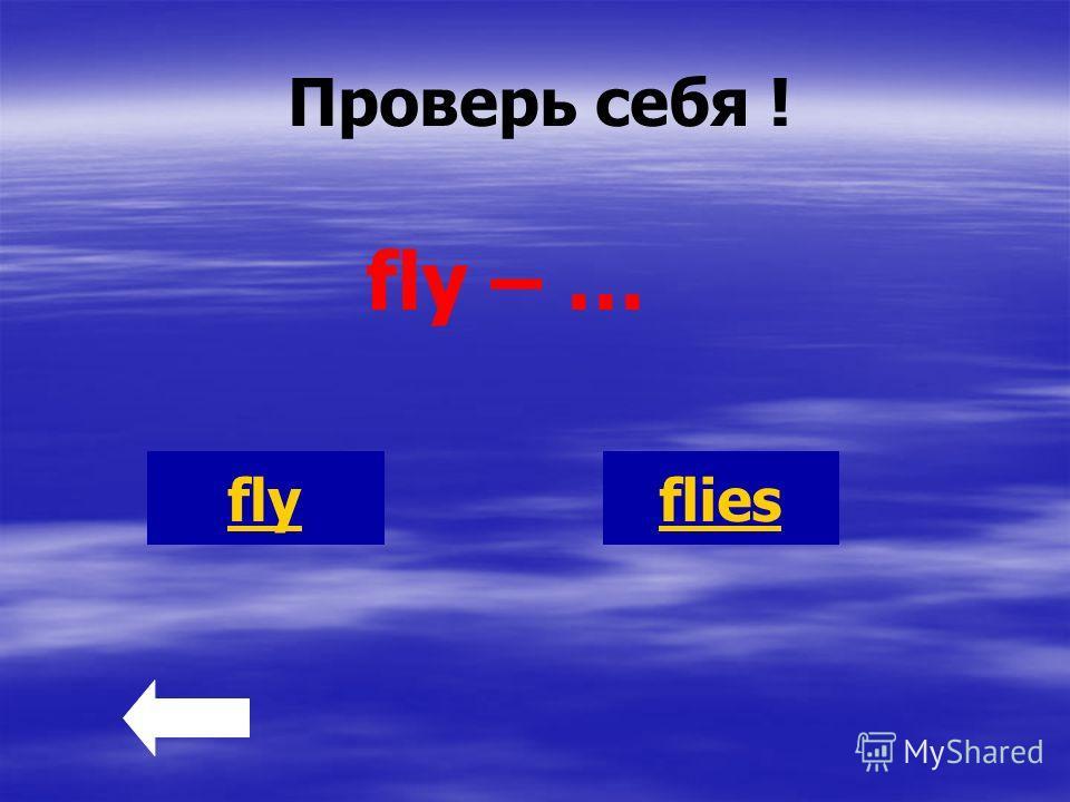 Проверь себя ! fly – … flyflies