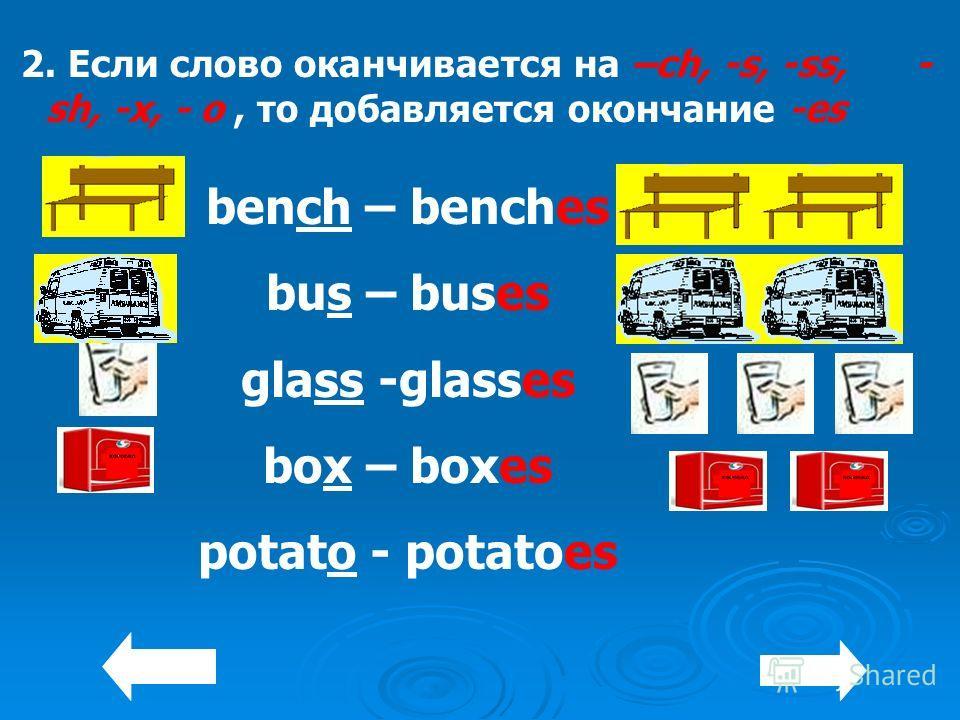 2. Если слово оканчивается на –ch, -s, -ss, - sh, -x, - o, то добавляется окончание -es bench – benches bus – buses glass -glasses box – boxes potato - potatoes