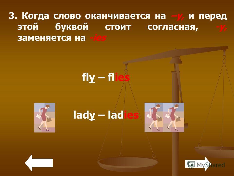 3. Когда слово оканчивается на –y, и перед этой буквой стоит согласная, -y, заменяется на -ies fly – flies lady – ladies