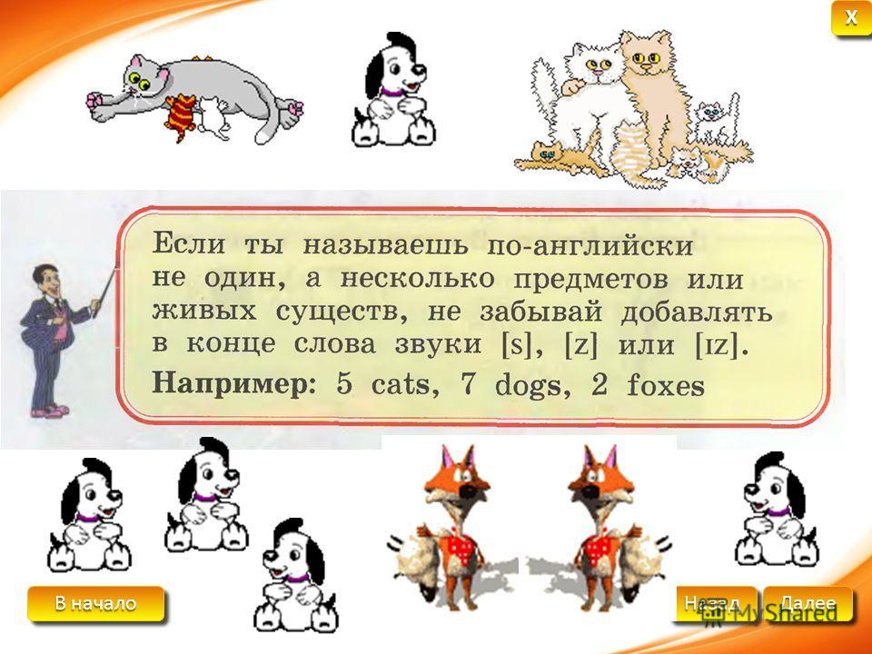 В начало В начало В начало В начало Далее Назад XXXX XXXX A catCats A dogDogs A foxFoxes