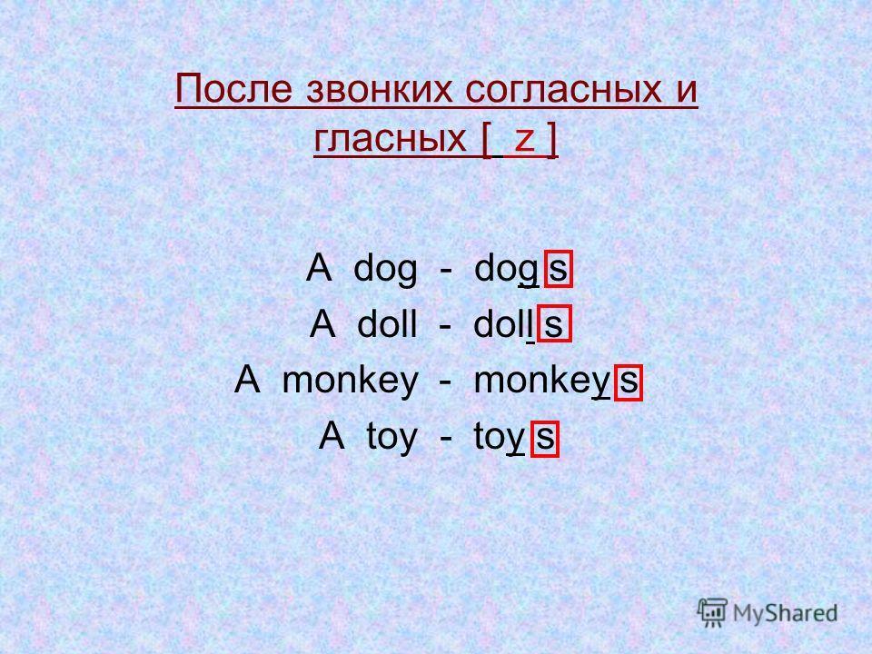 Множественное число имен существительных A cat - cat s A duck - duck s A robot -robot s An elephant - elephant s -S После глухих согласных [ s ]