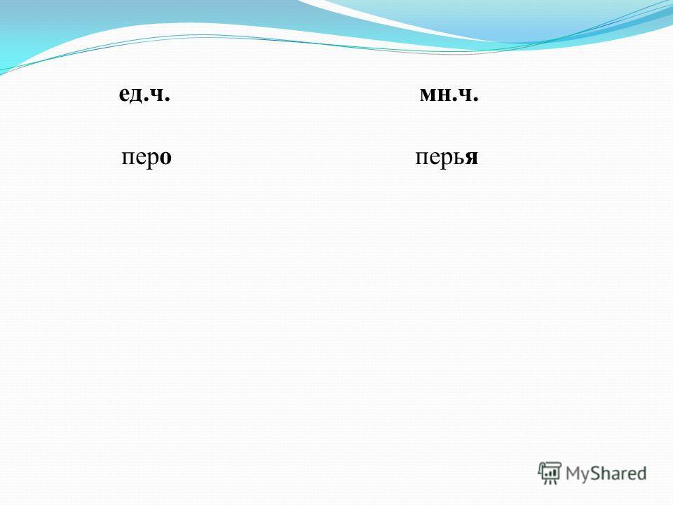 ед.ч. мн.ч. перо перья