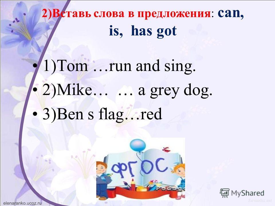 2)Вставь слова в предложения: can, is, has got 1)Tom …run and sing. 2)Mike… … a grey dog. 3)Ben s flag…red