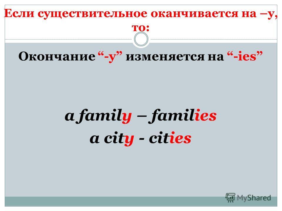 Если существительное оканчивается на –y, то: Окончание -y изменяется на -ies a family – families a city - cities