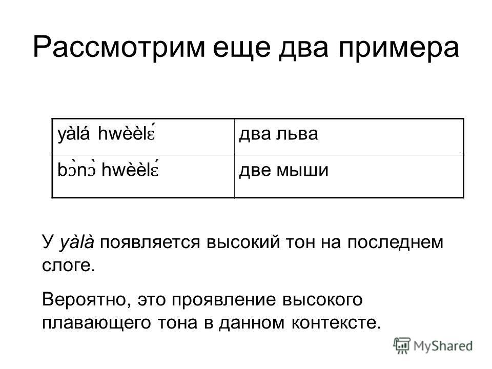 Рассмотрим еще два примера yàlá hwèèl ɛ два льва b ɔ ̀n ɔ ̀ hwèèl ɛ две мыши У yàlà появляется высокий тон на последнем слоге. Вероятно, это проявление высокого плавающего тона в данном контексте.