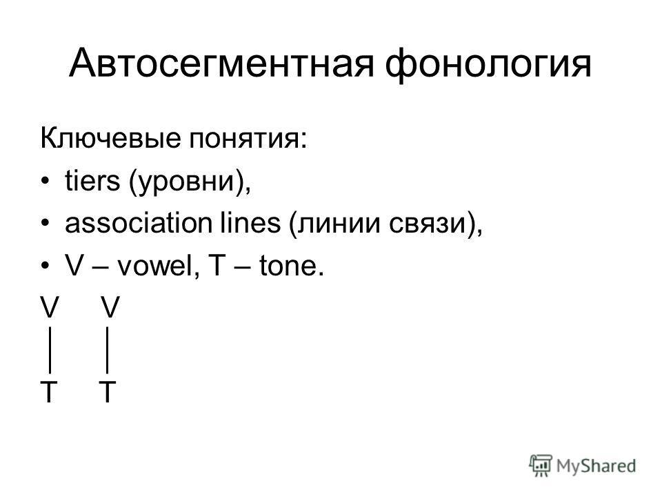 Автосегментная фонология Ключевые понятия: tiers (уровни), association lines (линии связи), V – vowel, T – tone. V T