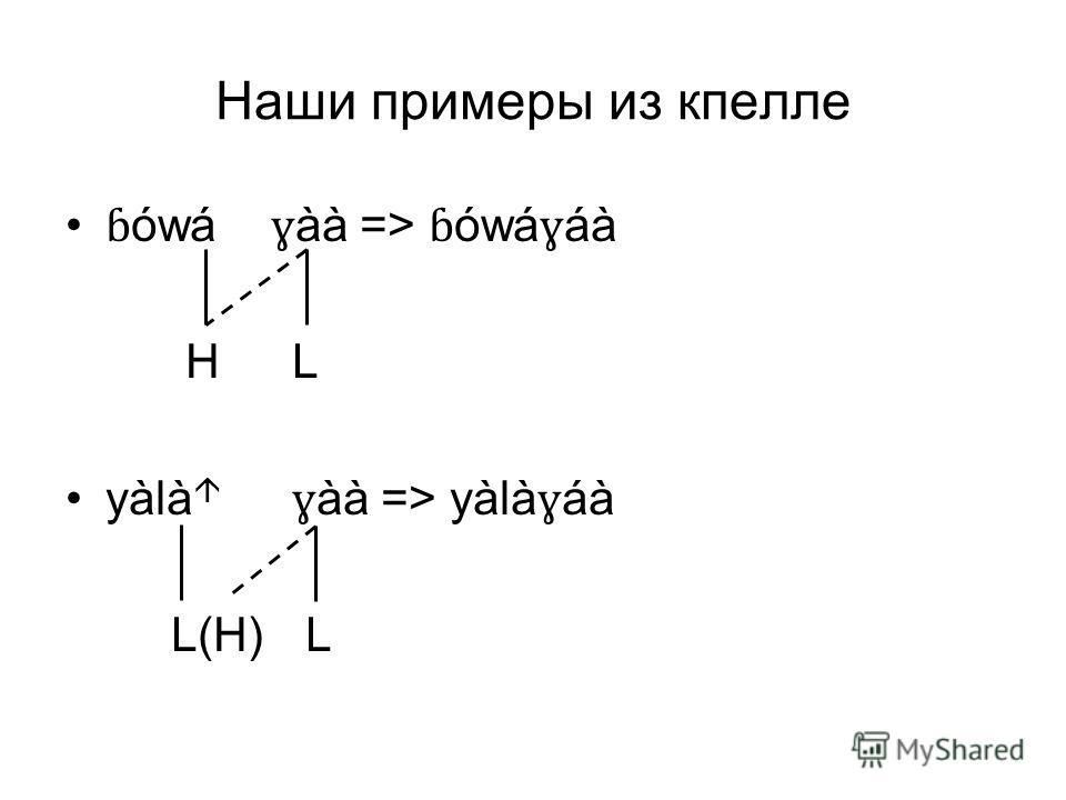 Наши примеры из кпелле ɓ ówá ɣ àà => ɓ ówá ɣ áà H L yàlà ɣ àà => yàlà ɣ áà L(H) L