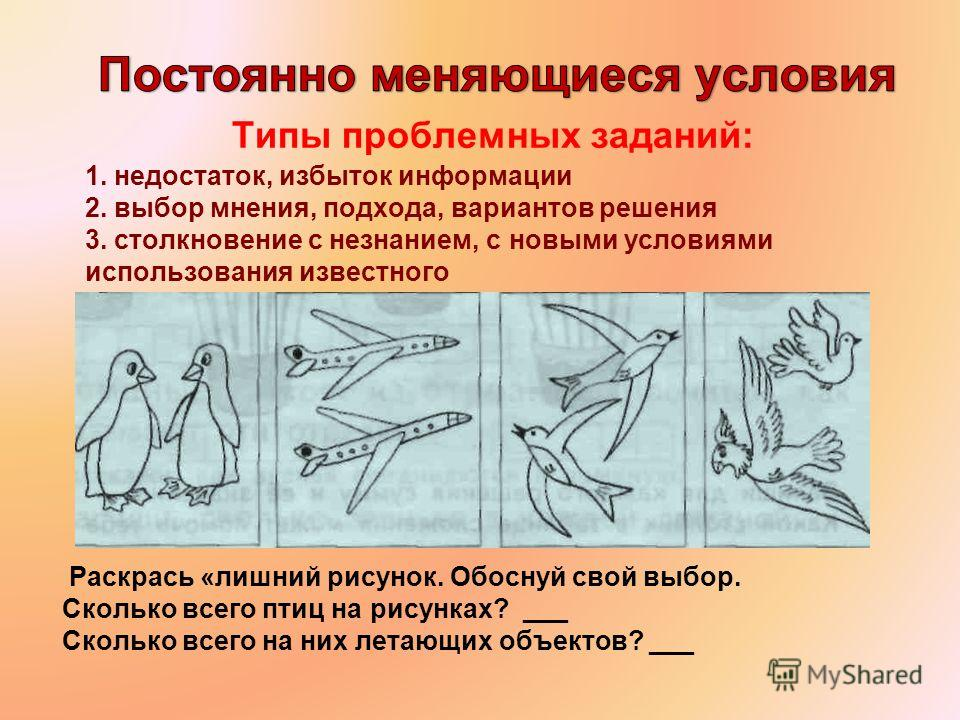 Сколько всего птиц на рисунках? ___ Сколько всего на них летающих объектов? ___Сколько всего птиц на рисунках? ___ Раскрась «лишний рисунок. Обоснуй свой выбор. Сколько всего птиц на рисунках? ___ Сколько всего на них летающих объектов? ___