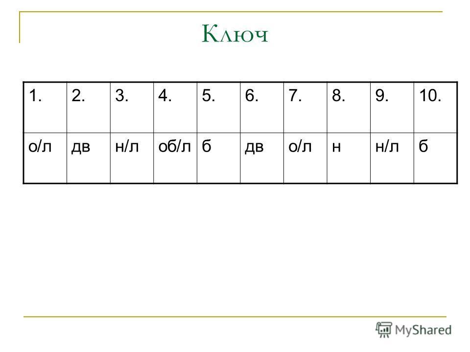 Ключ 1.2.3.4.5.6.7.8.9.10. о/лдвн/лоб/лбдво/лнн/лб