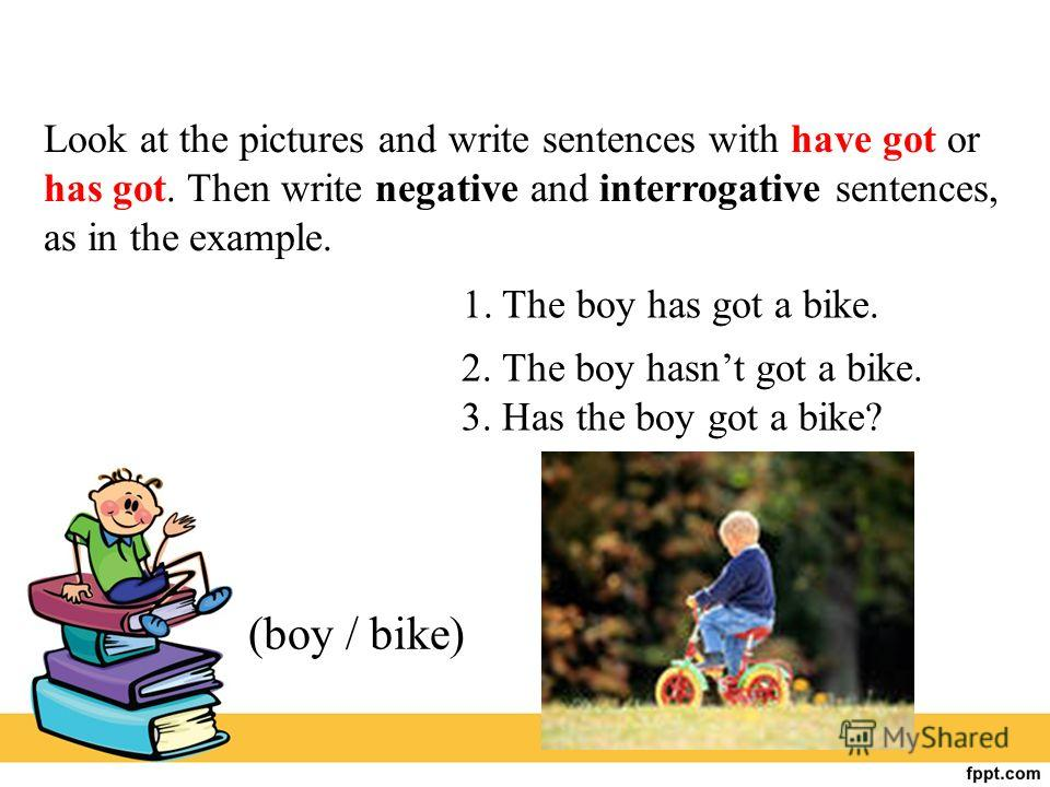 Look at the pictures and write sentences with have got or has got. Then write negative and interrogative sentences, as in the example. (boy / bike) 1. The boy has got a bike. 2. The boy hasnt got a bike. 3. Has the boy got a bike?