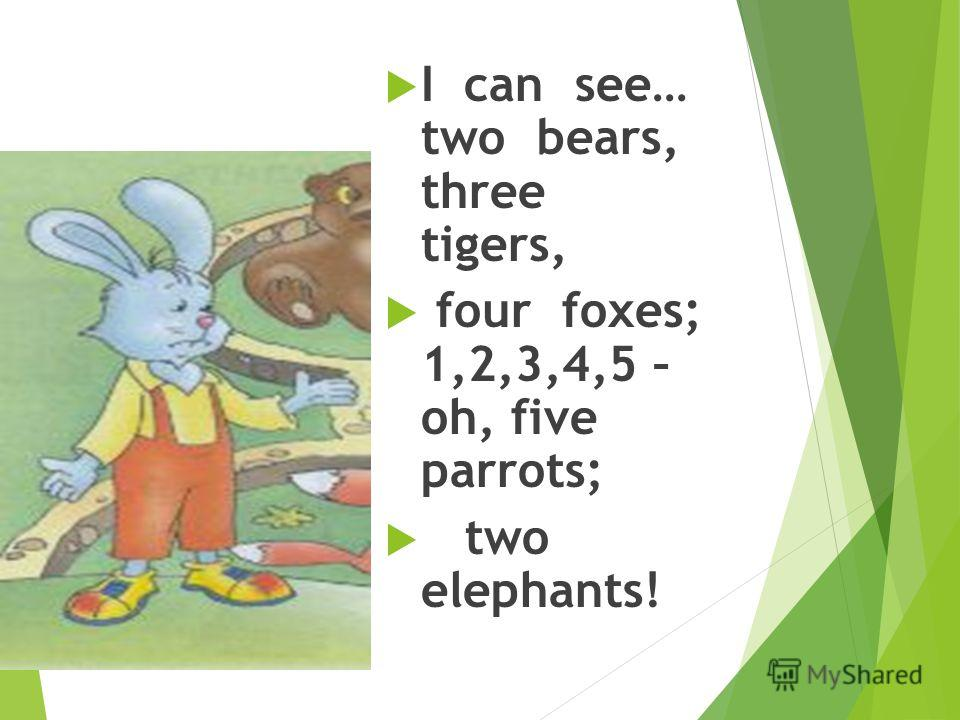 Martin: I can see… two bears, three tigers, four foxes; 1,2,3,4,5 – oh, five parrots; two elephants!