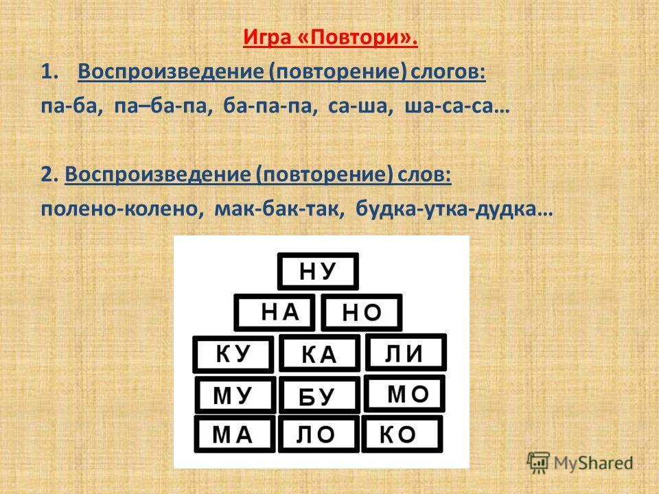 Игра «Повтори». 1. Воспроизведение (повторение) слогов: па-ба, па–ба-па, ба-па-па, са-ша, ша-са-са… 2. Воспроизведение (повторение) слов: полено-колено, мак-бак-так, будка-утка-дудка…