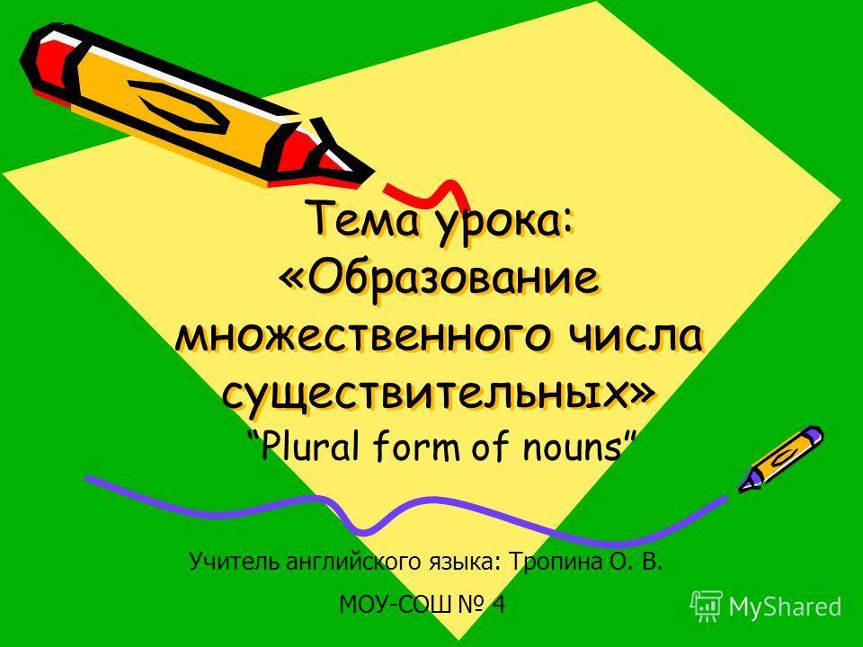 Тема урока: «Образование множественного числа существительных» Plural form of nouns Учитель английского языка: Тропина О. В. МОУ-СОШ 4