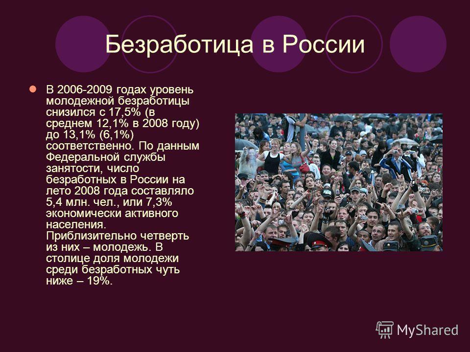 Безработица в России В 2006-2009 годах уровень молодежной безработицы снизился с 17,5% (в среднем 12,1% в 2008 году) до 13,1% (6,1%) соответственно. По данным Федеральной службы занятости, число безработных в России на лето 2008 года составляло 5,4 м