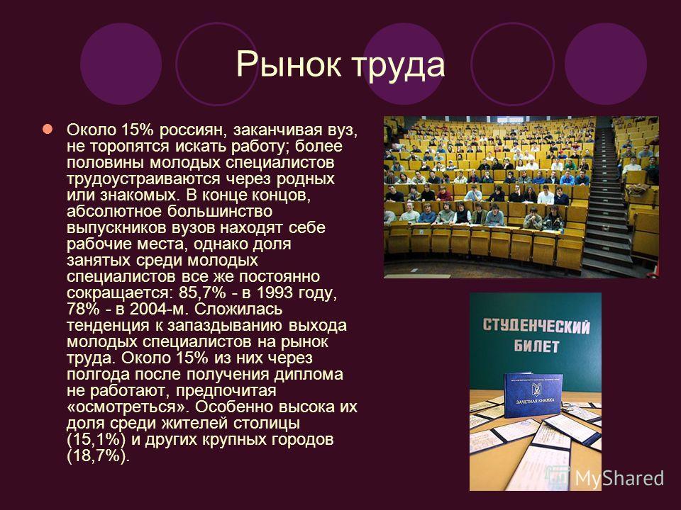 Рынок труда Около 15% россиян, заканчивая вуз, не торопятся искать работу; более половины молодых специалистов трудоустраиваются через родных или знакомых. В конце концов, абсолютное большинство выпускников вузов находят себе рабочие места, однако до