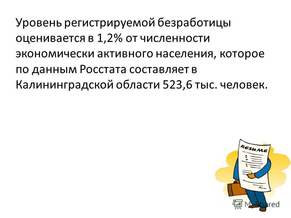 Уровень регистрируемой безработицы оценивается в 1,2% от численности экономически активного населения, которое по данным Росстата составляет в Калининградской области 523,6 тыс. человек.