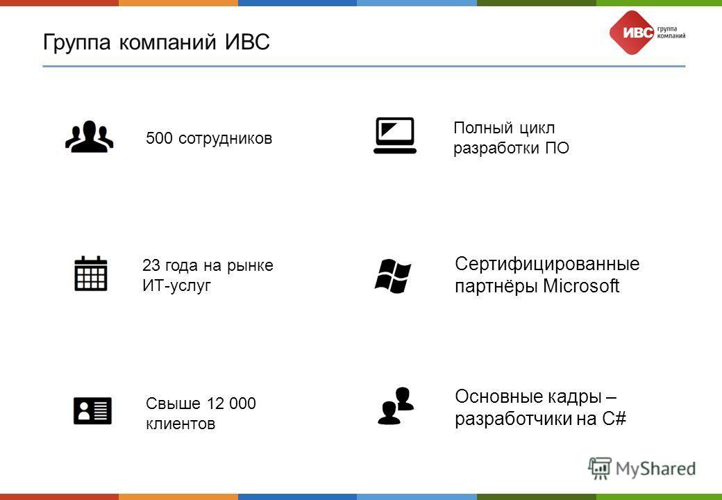 Группа компаний ИВС 500 сотрудников 23 года на рынке ИТ-услуг Свыше 12 000 клиентов Полный цикл разработки ПО Сертифицированные партнёры Microsoft Основные кадры – разработчики на C#