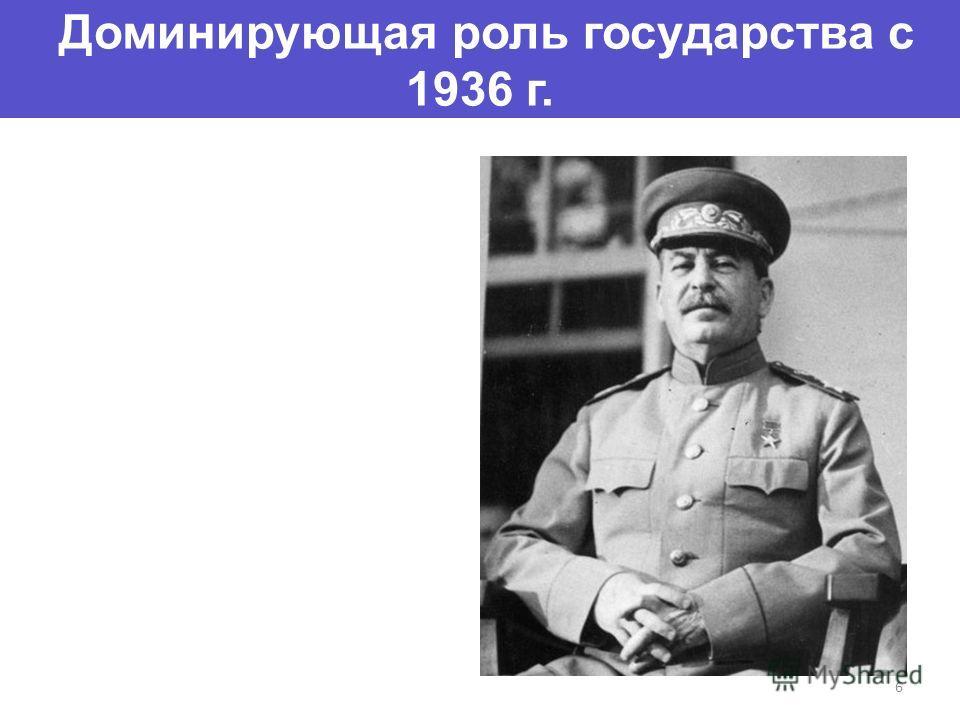 Доминирующая роль государства с 1936 г. 6