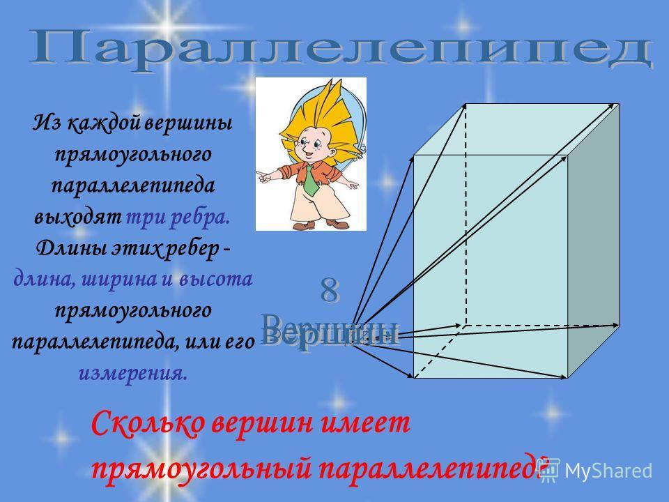 Сколько вершин имеет прямоугольный параллелепипед? Из каждой вершины прямоугольного параллелепипеда выходят три ребра. Длины этих ребер - длина, ширина и высота прямоугольного параллелепипеда, или его измерения.