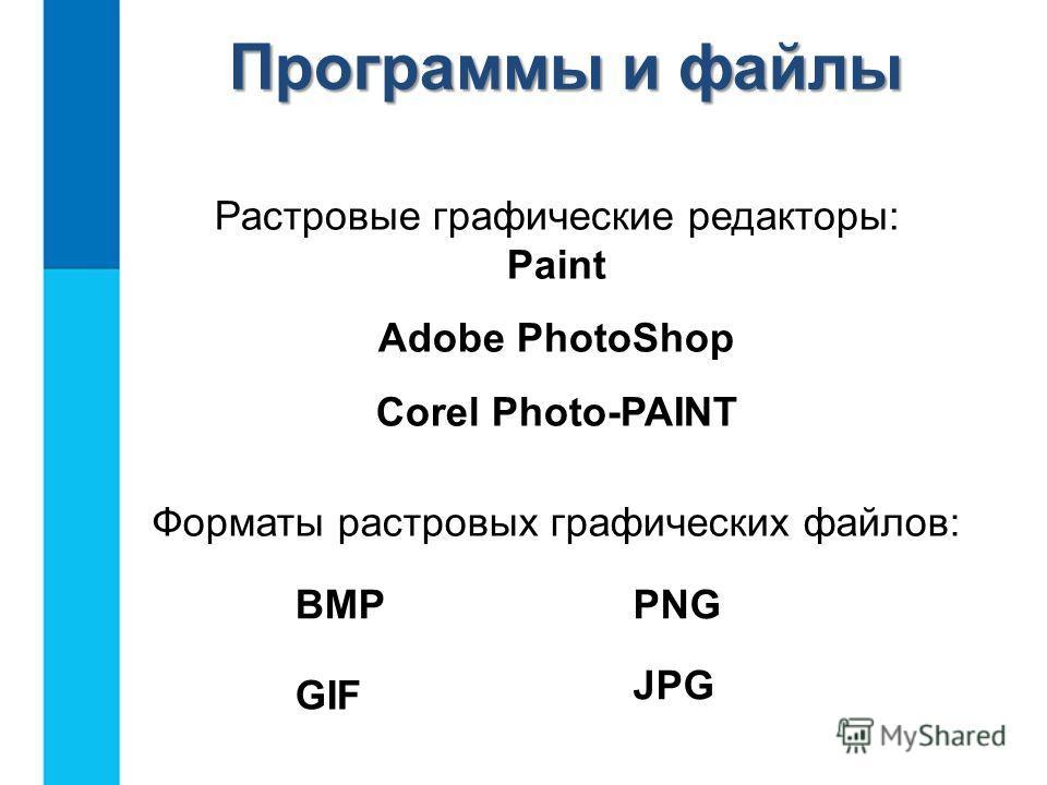 Растровые графические редакторы: Раint Adobe PhotoShop Corel Photo-PAINT Форматы растровых графических файлов: BMP GIF PNG JPG Программы и файлы