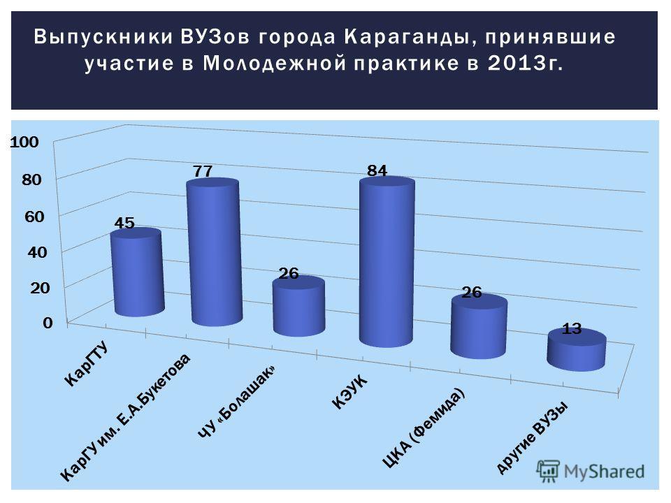 Выпускники ВУЗов города Караганды, принявшие участие в Молодежной практике в 2013 г.