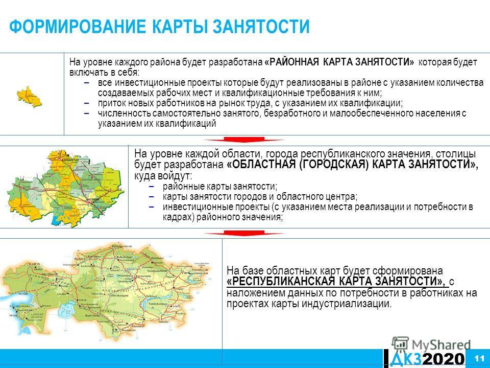 ДКЗ 2020 ФОРМИРОВАНИЕ КАРТЫ ЗАНЯТОСТИ На базе областных карт будет сформирована «РЕСПУБЛИКАНСКАЯ КАРТА ЗАНЯТОСТИ», с наложением данных по потребности в работниках на проектах карты индустриализации. 11 На уровне каждого района будет разработана «РАЙО