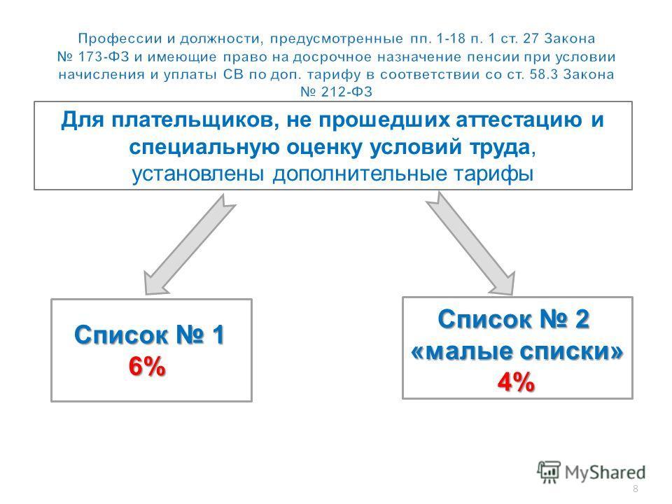 8 Для плательщиков, не прошедших аттестацию и специальную оценку условий труда, установлены дополнительные тарифы Список 1 6% Список 2 «малые списки» 4% 4%