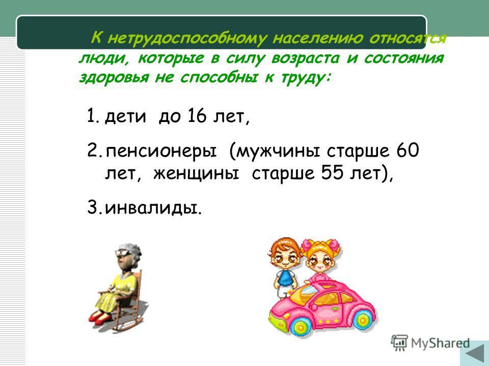 К нетрудоспособному населению относятся люди, которые в силу возраста и состояния здоровья не способны к труду: 1. дети до 16 лет, 2. пенсионеры (мужчины старше 60 лет, женщины старше 55 лет), 3.инвалиды.