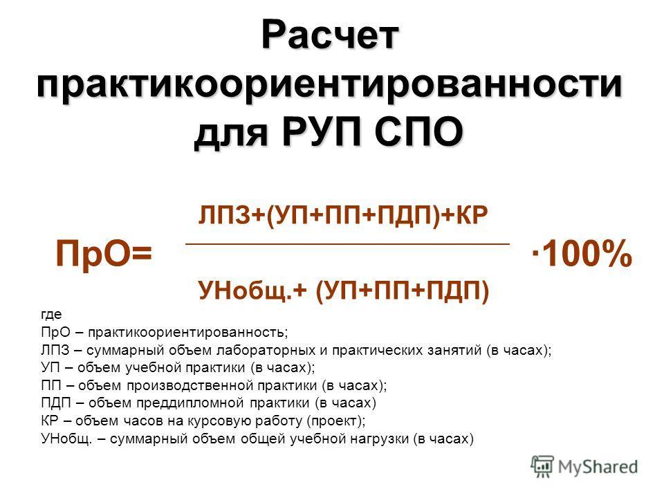 Расчет практикоориентированности для РУП СПО ЛПЗ+(УП+ПП+ПДП)+КР ПрО= ·100% УНобщ.+ (УП+ПП+ПДП) где ПрО – практикоориентированность; ЛПЗ – суммарный объем лабораторных и практических занятий (в часах); УП – объем учебной практики (в часах); ПП – объем