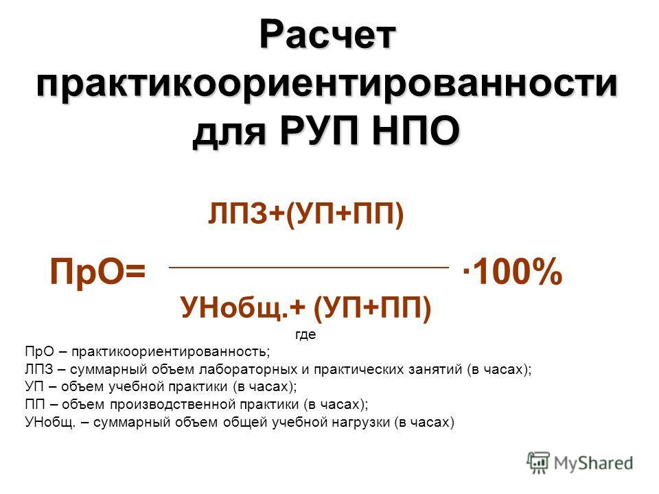Расчет практикоориентированности для РУП НПО ЛПЗ+(УП+ПП) ПрО= ·100% УНобщ.+ (УП+ПП) где ПрО – практикоориентированность; ЛПЗ – суммарный объем лабораторных и практических занятий (в часах); УП – объем учебной практики (в часах); ПП – объем производст