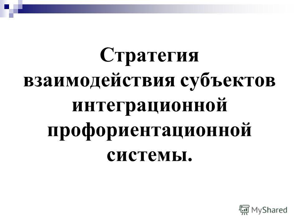 Стратегия взаимодействия субъектов интеграционной профориентационной системы.